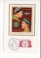 Militaria / FDC Premier Jour 1973  Carte Maximum - CAD Manuel  Sur N° 1773  Pierre Bourgoin & Philippe Kieffer - Guerre 1939-45