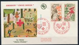 France Frankreich FDC Red Cross Mushrooms Rabbit Hunting Boar Pilze Rotes Kreuz °BL0891 - Pilze