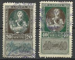 LETTLAND Latvia 1922-23 Revenue Steuermarken Sempelmarken 20 & 40 S. O - Lettland