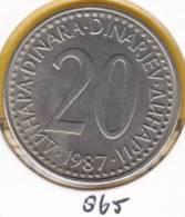 @Y@   Joegoslavië  20 Dinar  1987    (865) - Yougoslavie