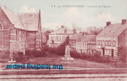STEENVOORDE - Contour De L'Eglise - Carte Colorée - Steenvoorde