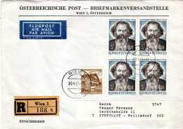 Registered Letter To Germany,Air Mail,nice Stamps - 1945-.... 2ème République