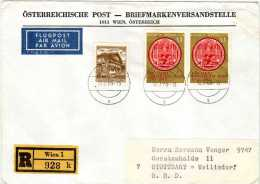 Registered Letter To Germany,Air Mail,nice Stamps - 1965 The 600th Anniversary Of The University Of Vienna - 1945-.... 2. Republik