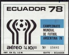 EQUATEUR  BF  * *   NON DENTELE  Cup 1978   Football  Soccer Fussball - Coupe Du Monde
