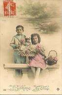 CPA-1910-CARTE-FETE-COUPLE D ENFANTS --TBE - Fêtes - Voeux