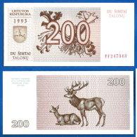 Lituanie 200 Talonas 1993 NEUF UNC Que Prix + Port Litu Animal Cerf Lithuania Skrill Paypal Bitcoin OK - Lituanie