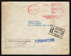 ITALIA - ANNULLO MECCANICO ROSSO BANCA NAZIONALE DEL LAVORO - RACCOMANDATA - 1946-.. Republiek
