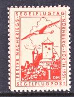 GERMANY  AEROPHILATELIC  VIGNETTE  SEGELFLUGPOST   GLIDER   * - Airmail