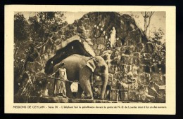 Cpa Du Sri Lanka , Missions De Ceylan L' éléphant Fait La Génuflexion Devant La Grotte De N. D. De Lourdes    HRT19 - Sri Lanka (Ceylon)