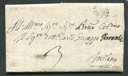 1786   RARA PREFILATELICA DA LODI  X MILANO ANNULLO PEDONI 43 IN NERO  TASSAZIONE 3 INTERESSANTE  TESTO STORICO - 1. ...-1850 Prefilatelia