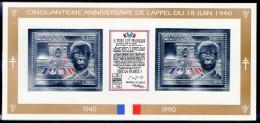 DE GAULLE -  GUYANA -  BLOC   ARGENT - Cinquantième Anniversaire De L'appel Du 18 Juin 1940 - De Gaulle (General)