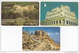 Y] 3 Télécartes Phonecards Yemen Forteresse Ville Tourisme Fortress City Tourism Desert TeleYemen - Yemen