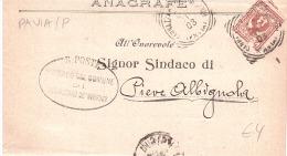 1903 CENT.2 DAL SINDACO DI SANNAZZARODE' BURGONDI A QUELLO DI PIEVA ALBIGNOLA - Storia Postale