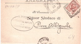 1903 CENT.2 DAL SINDACO DI SANNAZZARODE' BURGONDI A QUELLO DI PIEVA ALBIGNOLA - 1900-44 Vittorio Emanuele III
