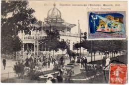 Marseille - Exposition Internationale D'Electricité 1908, La Grande Brasserie ( Vignette, Cachet Hexagonal) - Exposition D'Electricité Et Autres