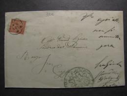 """ITALIA Regno-1866- """"T 15 Torino Cifra"""" C. 2 FORLI´>CRESPINO (descrizione) - 1861-78 Vittorio Emanuele II"""