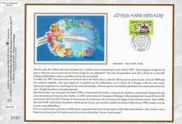 """Feuillet CEF En Soie De 1999 N° 1440s """" JOYEUX ANNIVERSAIRE """" N° YT 3242. Parfait état + Prix Degressif ! - FDC"""