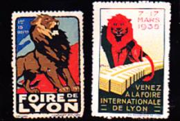 2 VIGNETTES NSG  FOIRE DE LYON 1935 - Commemorative Labels