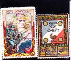 2 VIGNETTES MILITAIRES DE REGIMENTS - 1914-18 - Commemorative Labels