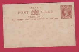 TRINIDAD  // Entier Postal //  Halfpenny Rouge //  Carte Vierge - Trinité & Tobago (...-1961)