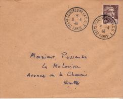 """PARIS - Lettre Afranchie Par Marianne De GANDON N° 715 Obl. CAD """" 26eme CONGRÉS De La C.G.T. """" - Travail , Histoire , - - Marcophilie (Lettres)"""