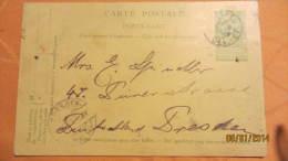 Postkarte Ganzsache Vom 4.9.1905 Von Belgien Brüssel) Nach Dresden - Ohne Zuordnung