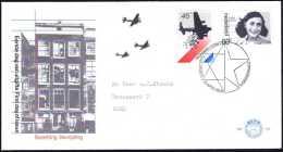 Pays-Bas 1980. Y&T 1129/30. Occupation Et Libération De L´Europe. Parachutage De Vivres, Anne Frank...  Sur FDC - 2. Weltkrieg