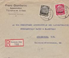 Turkheim Elsass 1941 - Lettre Recommandée Avec étiquette - Alsace - Lettre Brief - Alsace-Lorraine