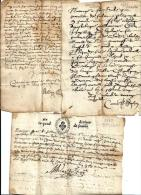 Brussac / Entraigues --  Aveyron --  4 Quart De Feuille --  Actes Divers : Mariages  Etc..-- 1675 / 85  --  Etat Moyen - Documents Historiques