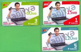 Azerbaijan GSM Prepaid - Bakcell 1 3 5 Manat /MINT - UNC / In The Original Folder (was Not Opened) - Azerbaïjan