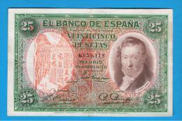 ESPAÑA - 25 Pesetas 1931 RESELLO AGUILA DE SAN JUAN - RARO - [ 1] …-1931 : Primeros Billetes (Banco De España)