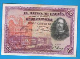 ESPAÑA - 50 Pesetas 1928  RESELLO AGUILA DE SAN JUAN - RARO - [ 1] …-1931 : First Banknotes (Banco De España)