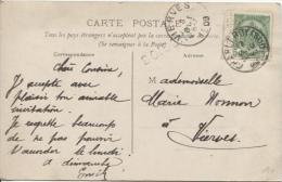 TP 83 S/CP C.Charleroi(Sud) En 1909 + Griffe Doische V.Vierves C.d'arrivée PR389 - Postmark Collection