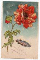 Cpa Précurseur Gaufrée - 1er Avril - ( Poisson Et Fleur ) - 1906 - 1° Aprile (pesce Di Aprile)