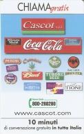 TARJETA DE ITALIA DE COCA-COLA , CERVEZA CARLSBERG, BUD, TUBORG BEER, ETC (COKE) - Publicidad