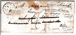 Lettre Avec Correspondance Cajarc Lot Panazol Haute Vienne 1849 Nombreux Cachets - Marcophilie (Lettres)