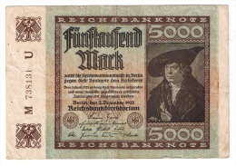 ALLEMAGNE  //  5000 Mark  //  2/12/1922 - [ 3] 1918-1933 : Weimar Republic