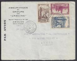 """COTE D´IVOIRE - 1943 -  LETTRE DES ASSURANCES DU GROUPE DES """"URBAINE"""" POUR ALGER - - Côte-d'Ivoire (1892-1944)"""