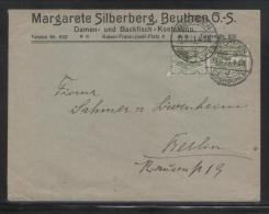 POLAND HAUTE SILESIE PLEBISCITE UPPER SILESIA 1921 LETTER MARGARETE SILLBERG BEUTHEN DOUBLE FRANKING 40PF GREEN - ....-1919 Provisional Government