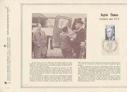 102 FDC 1ER JOUR 31 X 22cm 1975 FEUILLET EUGENE THOMAS MINISTRE DES PTT - Documents De La Poste