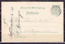 P 37 Ziffer, Rottenacker Nach Nuertingen, AK-Stempel 1901 (44687) - Wuerttemberg