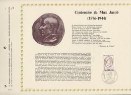 127 FDC 1ER 31 X 22cm 1976 FEUILLET CENTENAIRE DE MAX JACOB - Documents De La Poste