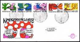 Pays-Bas 1968. Y&T 877/82.  Pour L'enfance. Personnages De Contes De Fées. Géant, Sorcière, Dragon, Magicien,... Sur FDC - Covers & Documents