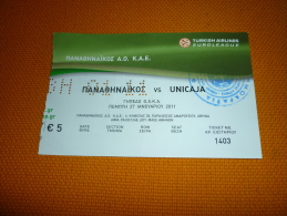 Panathinaikos-Caja Laboral Spain Euroleague Basketball Ticket 2011 (Turkish Airlines) - Tickets D'entrée