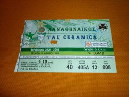 Panathinaikos-Tau Ceramica Spain Euroleague Basketball Ticket 2006 - Tickets D'entrée