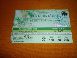 Panathinaikos-Benetton Treviso Italy Euroleague Basketball Ticket 29/3/2006 - Match Tickets