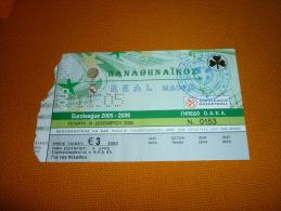 Panathinaikos-Real Madrid Spain Euroleague Basketball Ticket 14/12/2005 - Tickets D'entrée