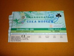 Panathinaikos-CSKA Moscow Russia Euroleague Basketball Ticket 9/11/2005 - Tickets D'entrée