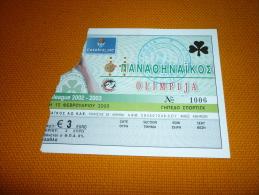 Panathinaikos-Olimpija Ljubljana Slovenia Euroleague Basketball Ticket 13/2/2003 - Tickets D'entrée