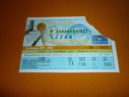 Panathinaikos-CSKA Moscow Russia Euroleague Basketball Ticket 20/12/2001 - Tickets D'entrée